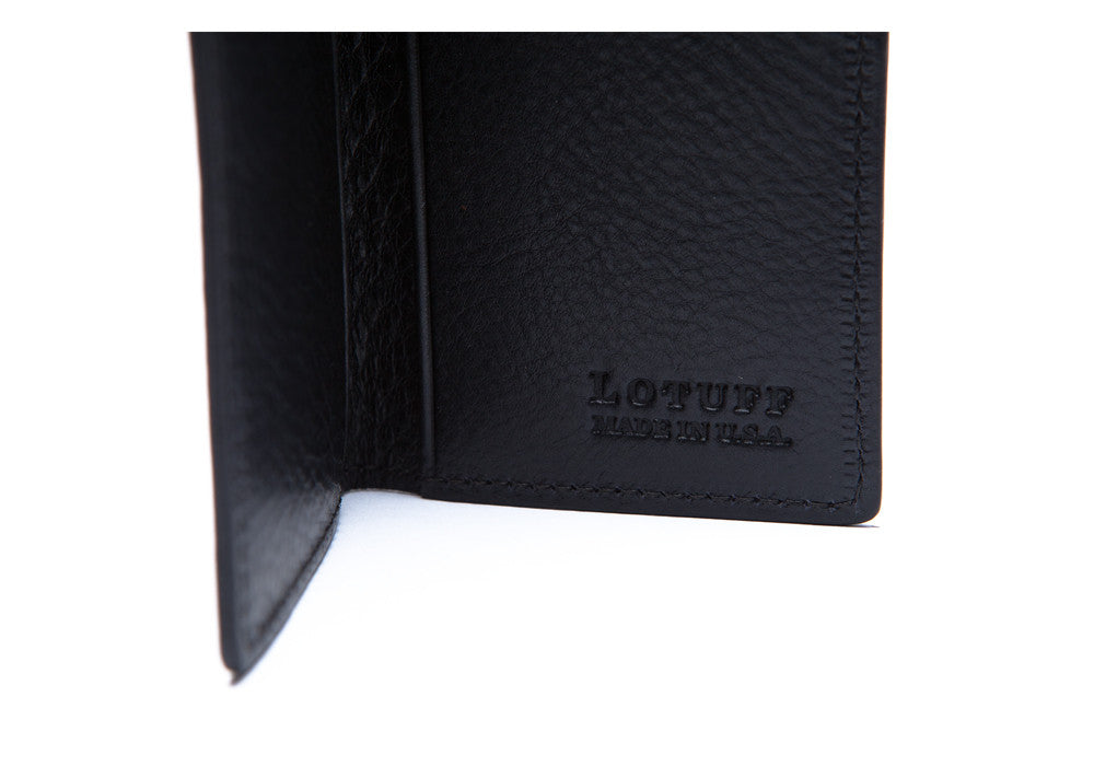 Inside Logo View of Leather Folding Card Wallet Navy
