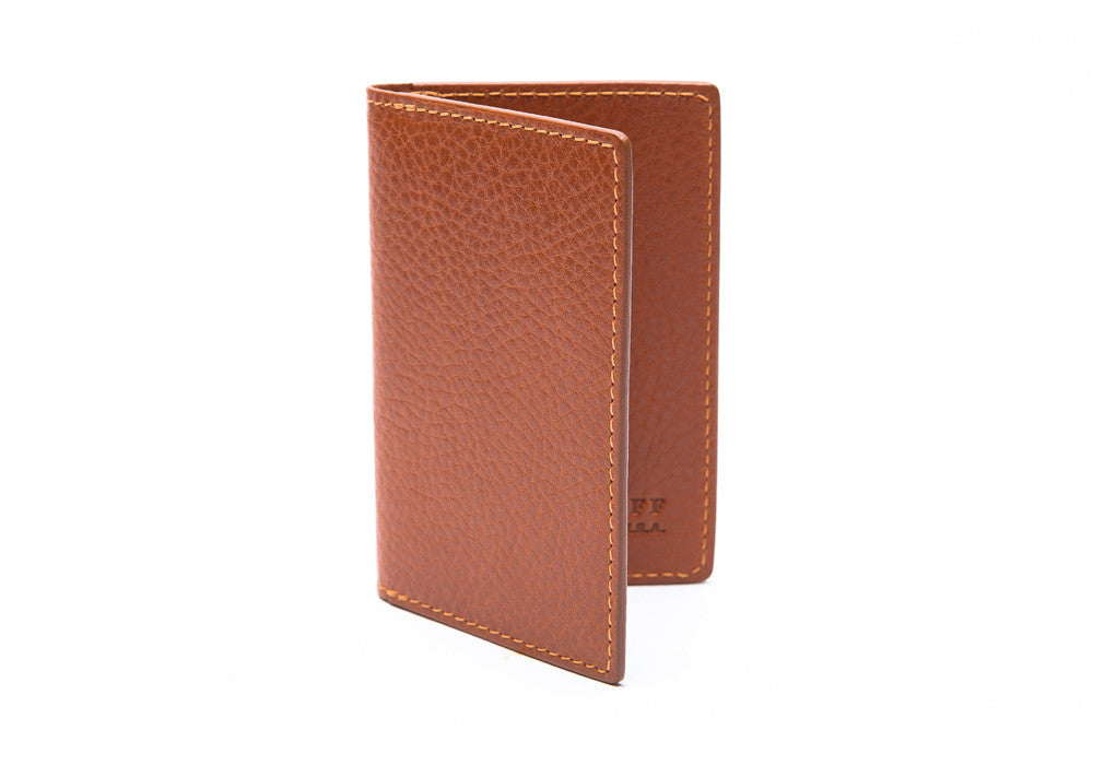 Leather Folding Card Wallet Tan
