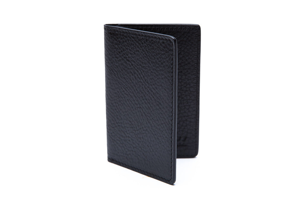 Closed Side View of Leather Folding Card Wallet Black