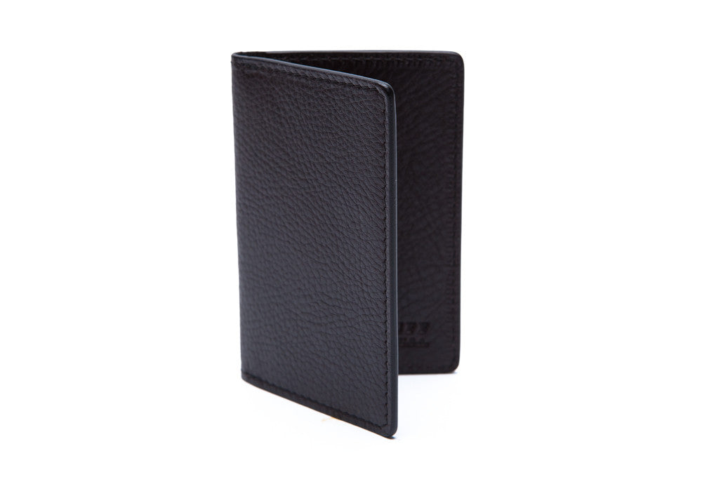 Side View Closed of Leather Folding Card Wallet Chocolate