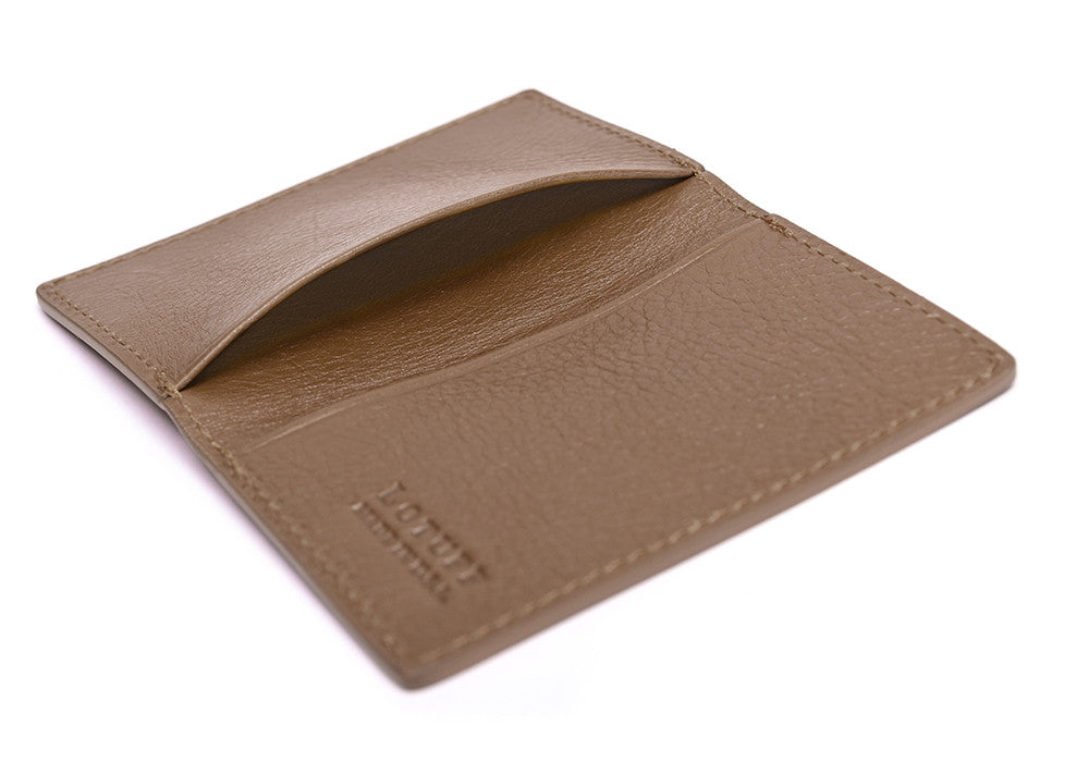 Leather Folding Card Wallet Clay