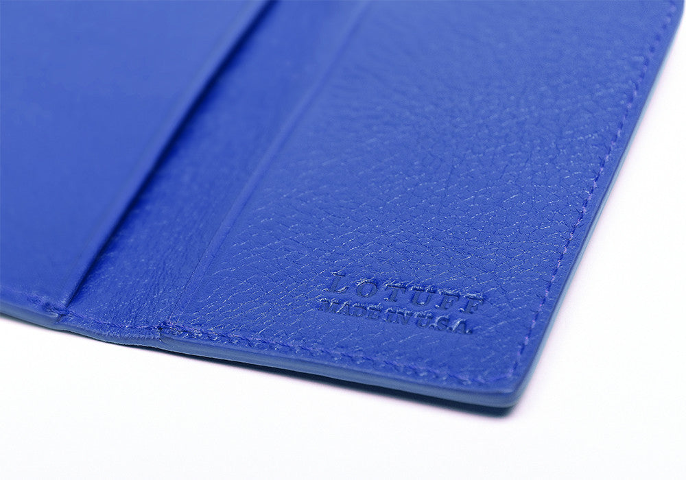 Leather Folding Card Wallet Electric Blue