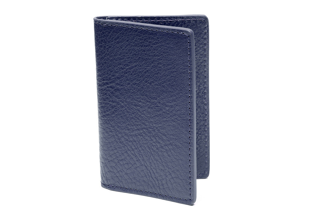Leather Folding Card Wallet Indigo|Side View Closed