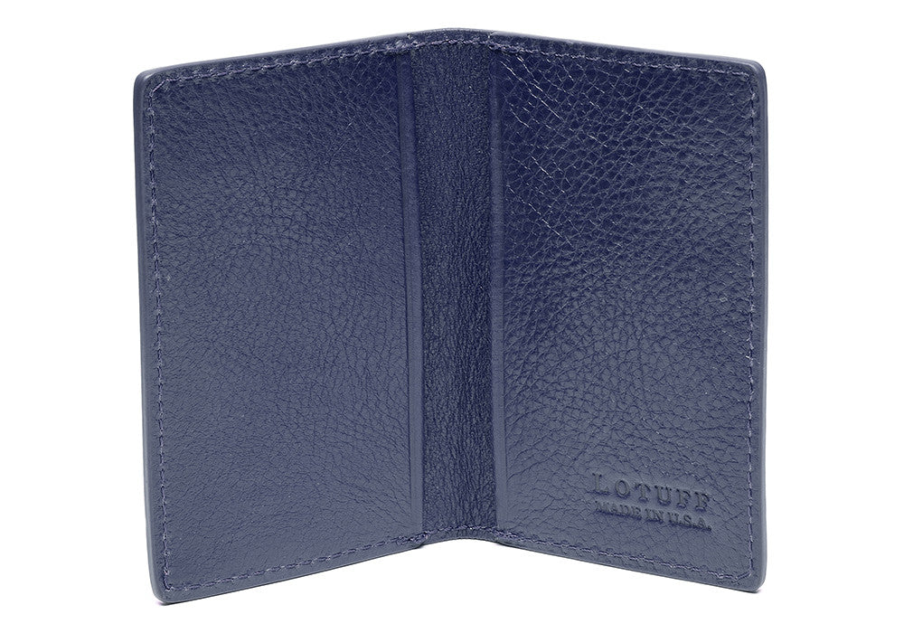 Leather Folding Card Wallet Indigo