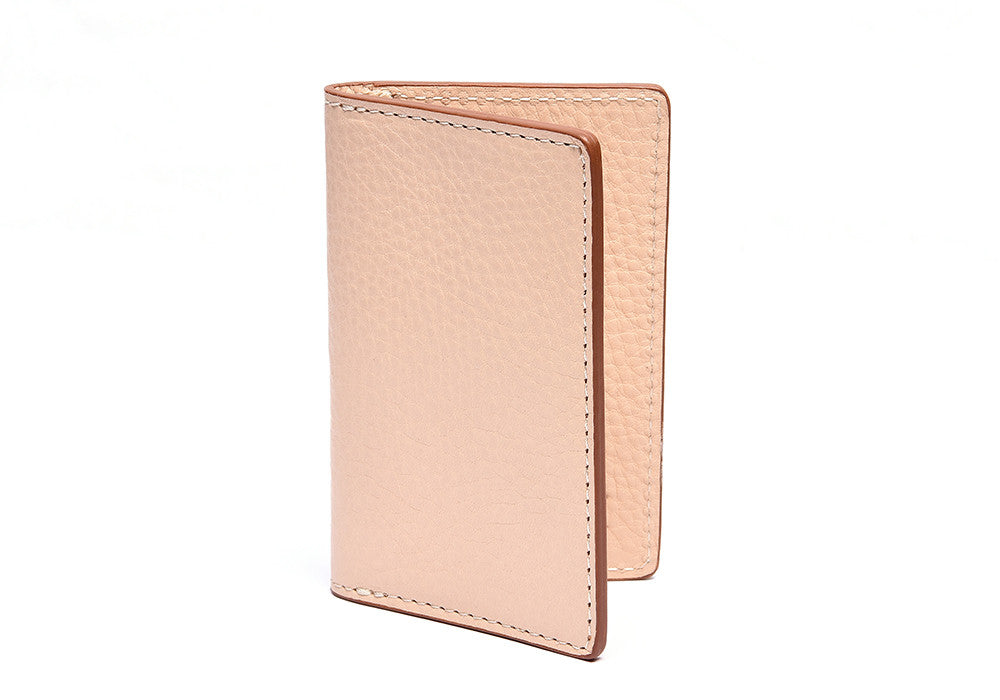 Leather Folding Card Wallet Natural