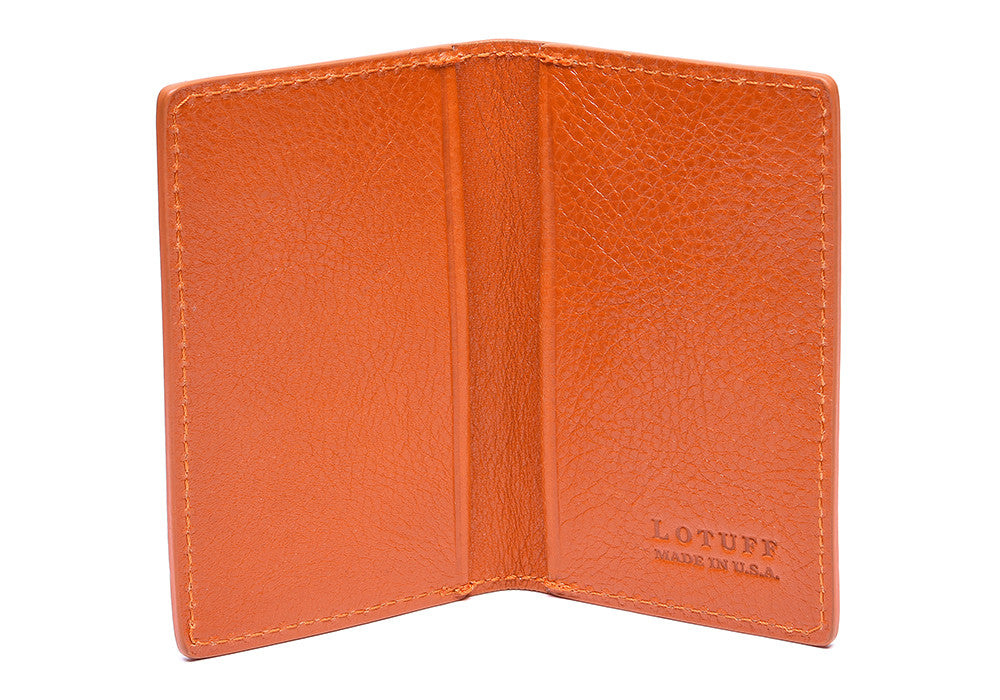 Leather Folding Card Wallet Orange