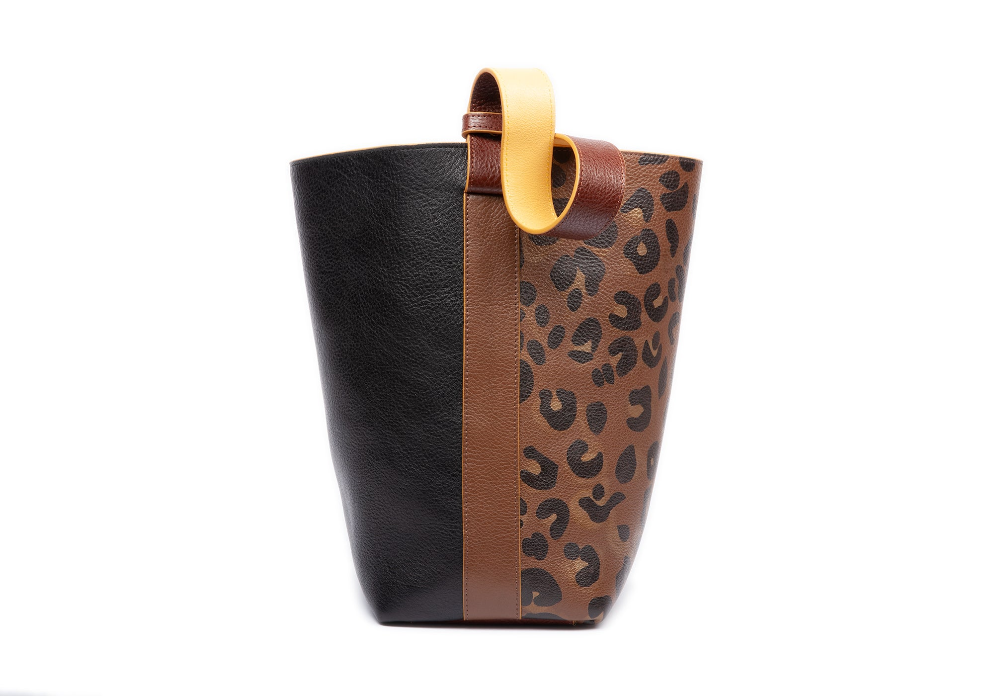 Handpainted Leather Bucket Shoulder Bag Clay