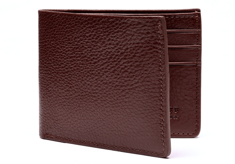 Side View of Leather Bifold Wallet Cordovan