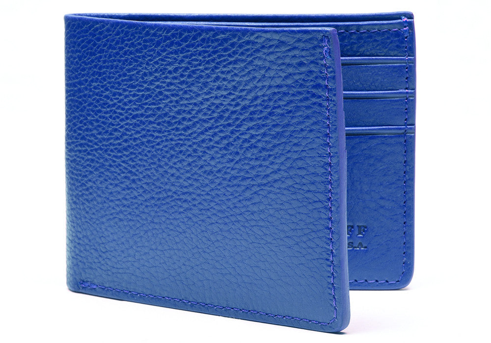 Front View of Leather Bifold Wallet Electric Blue