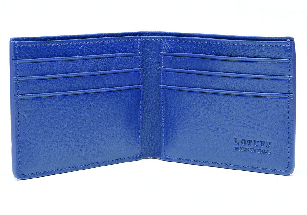 Open Front View of Leather Bifold Wallet Electric Blue