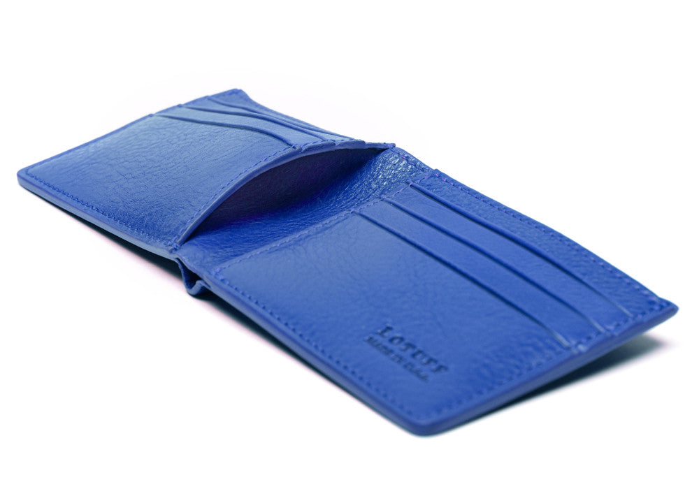 Open Side View of Leather Bifold Wallet Electric Blue
