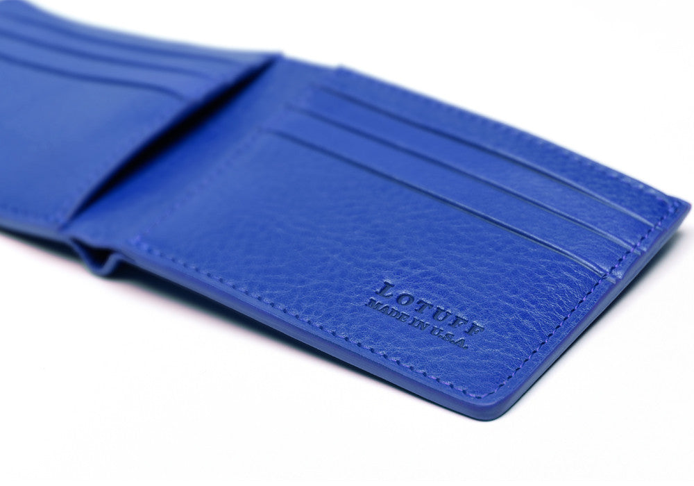 Close Side View of Leather Bifold Wallet Electric Blue