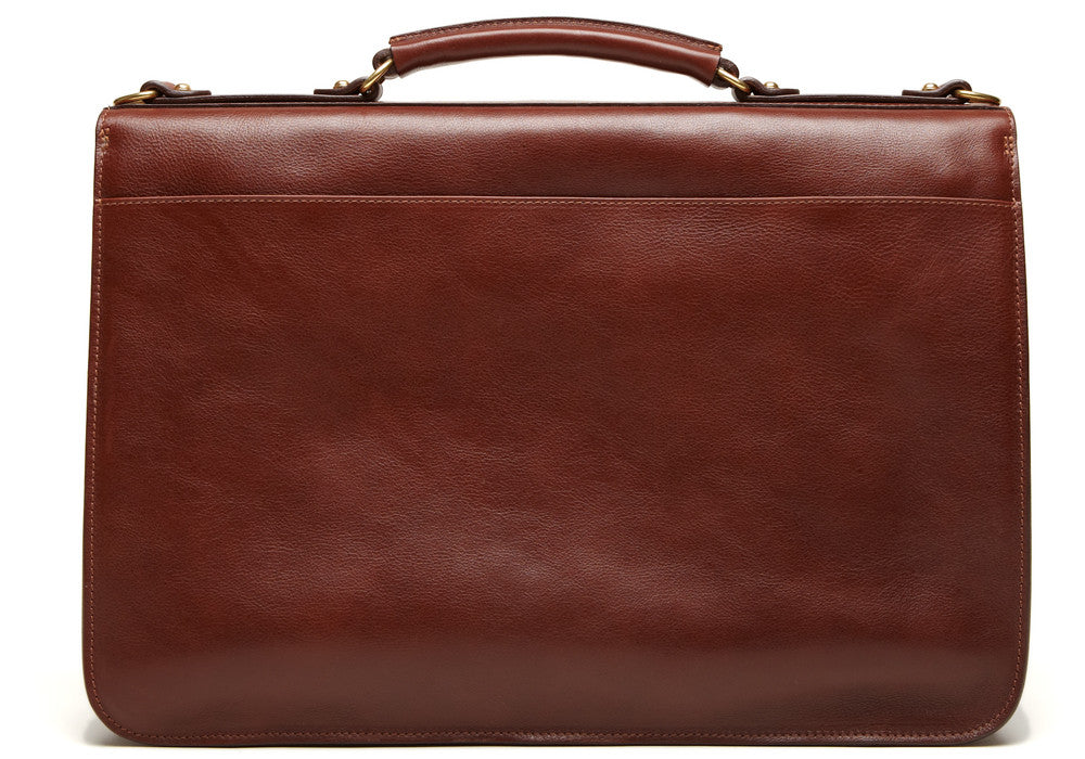 Back View of Leather Lock Briefcase Chestnut
