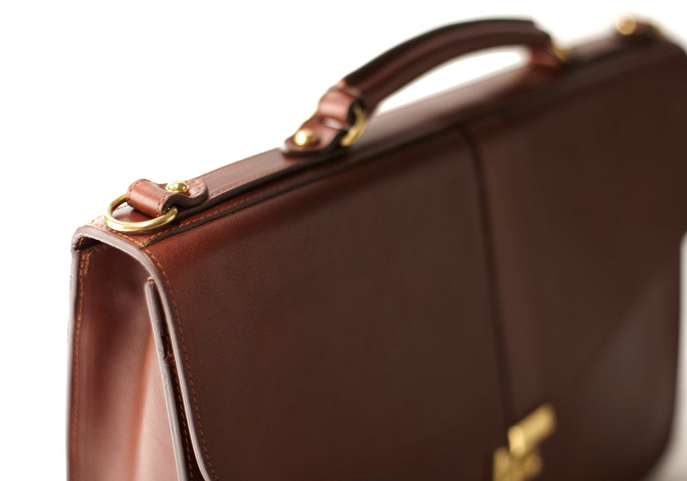 Top View of Leather Lock Briefcase Chestnut