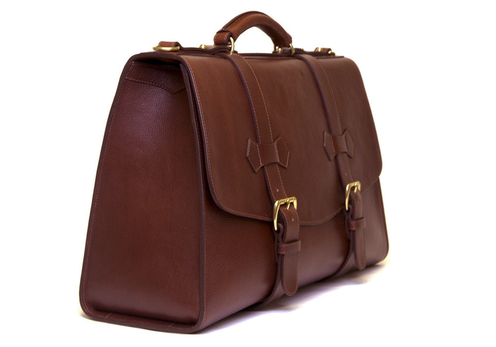 Front Side Angle View of Leather Satchel Chestnut