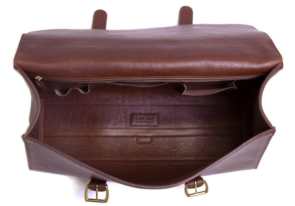 Inner Leather View of Leather Satchel Chestnut