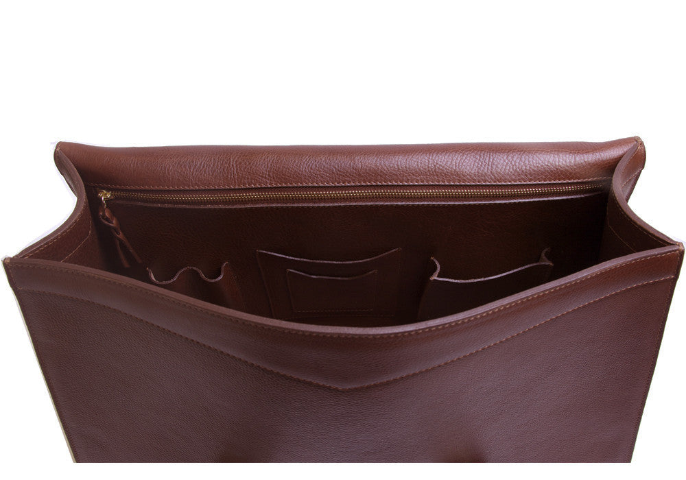 Top Open View of Leather Satchel Chestnut