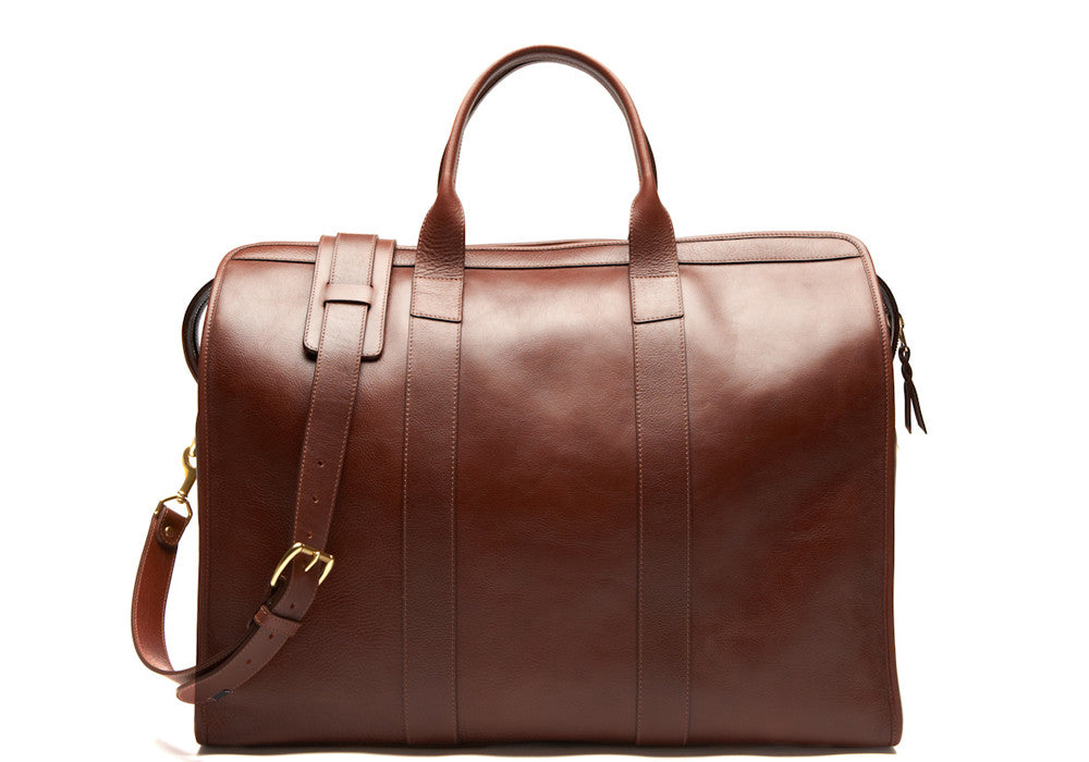 Front Leather View of Leather Trunk Duffle Bag Chestnut