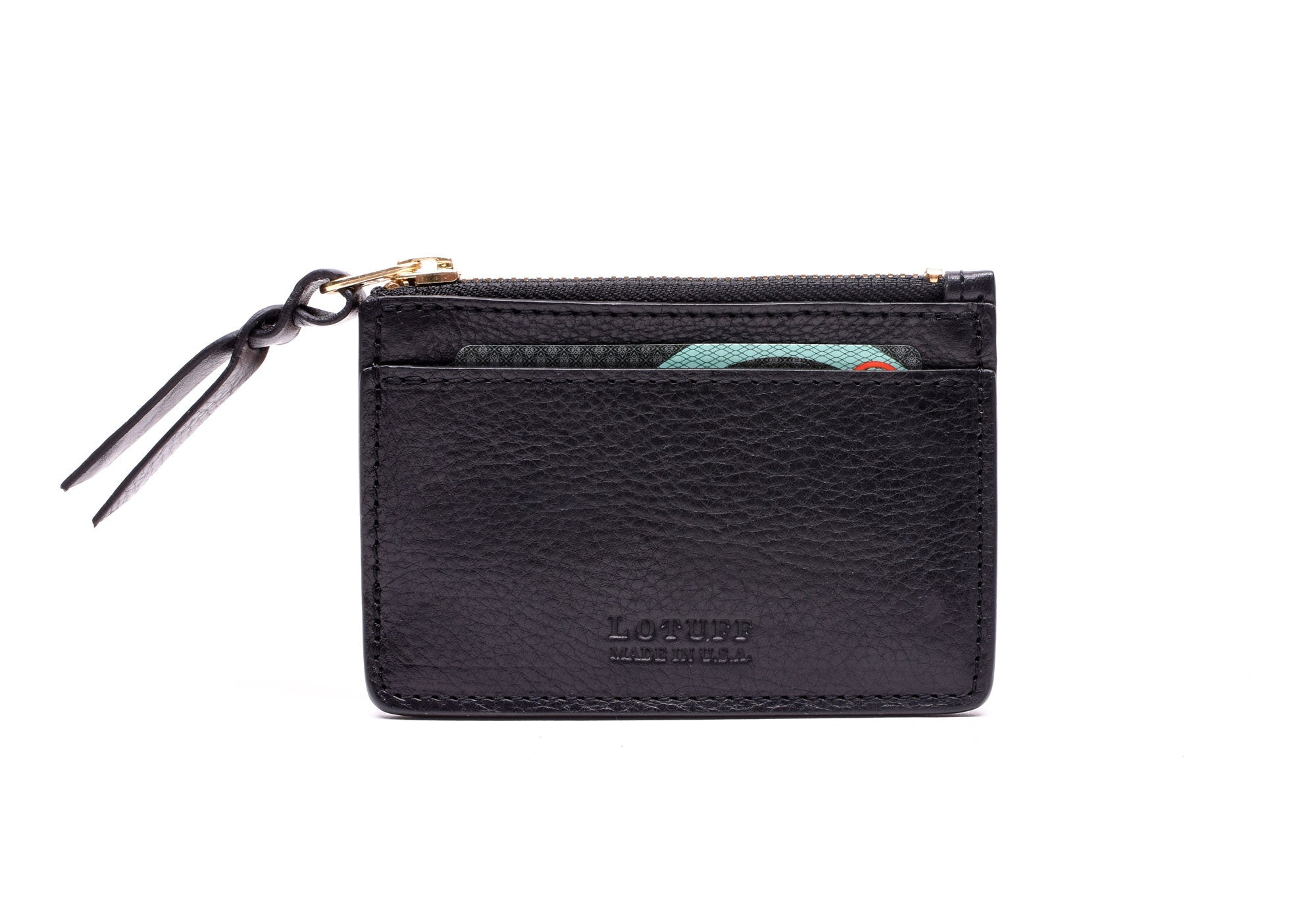 Zipper Credit Card Wallet Black|Front View
