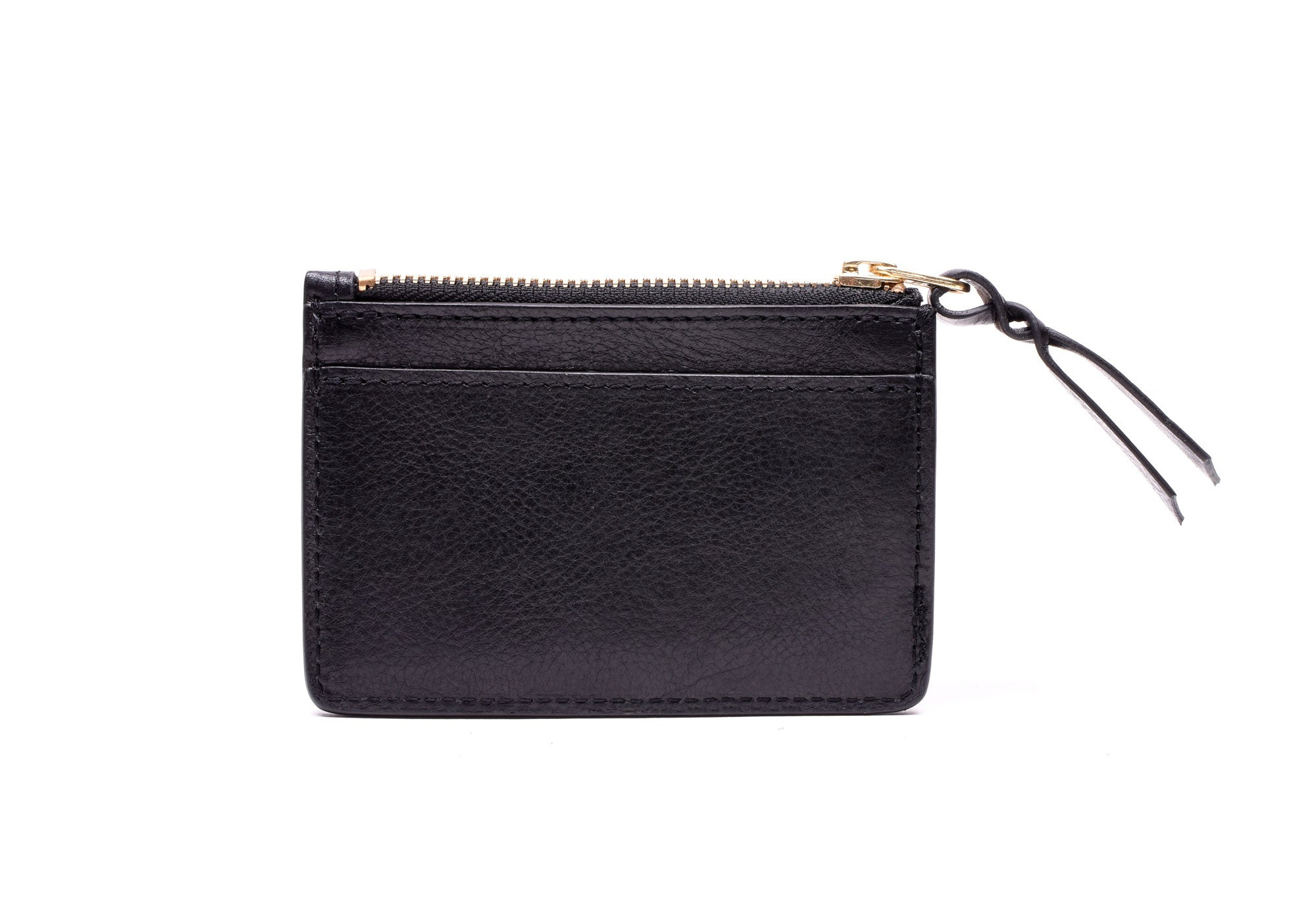 Front View Open of Zipper Credit Card Wallet Black