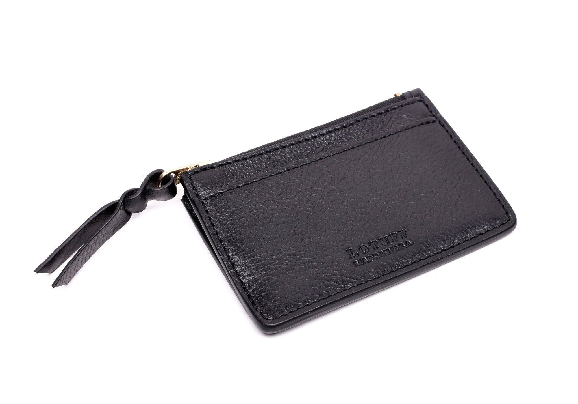 Front View of Zipper Credit Card Wallet Black