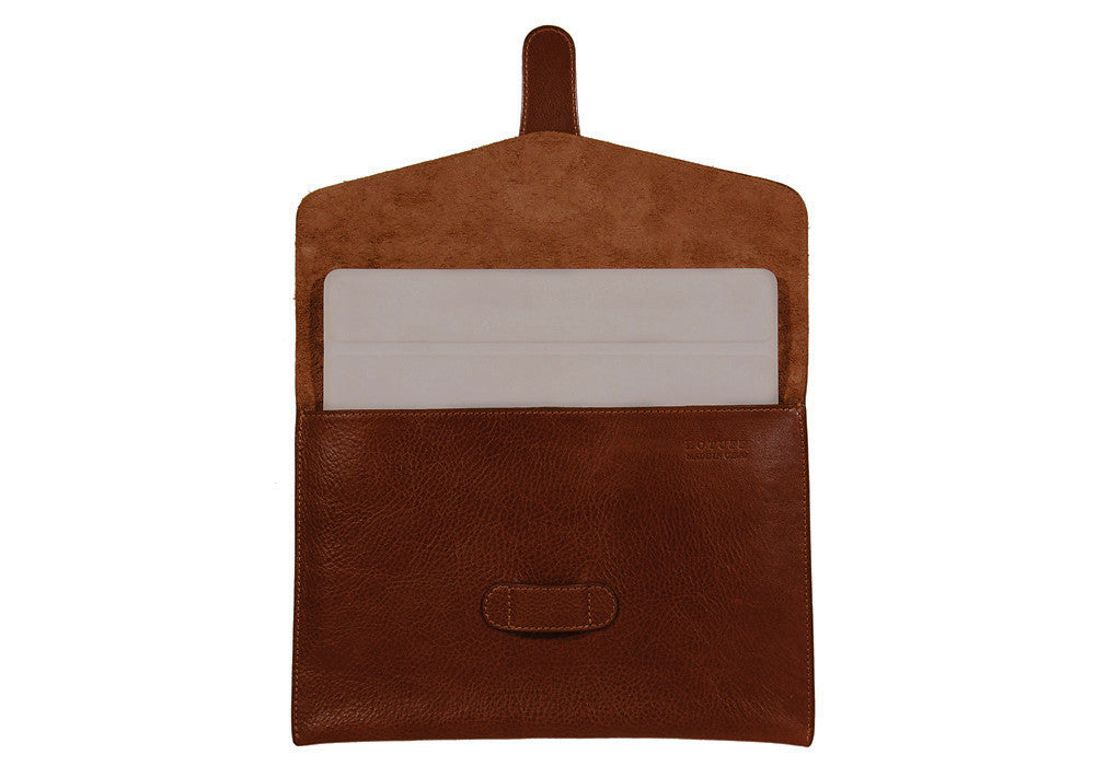 Front Open Leather View of Leather iPad Case Chestnut