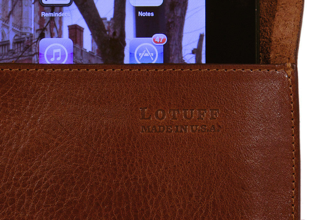 Close Up View of Leather iPad Case Chestnut