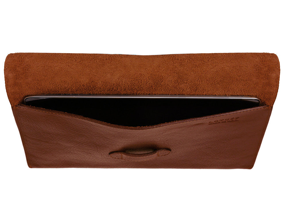 Top Open View of Leather iPad Case Chestnut