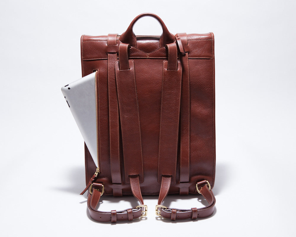 Straps With Laptop View of Leather Backpack Chestnut