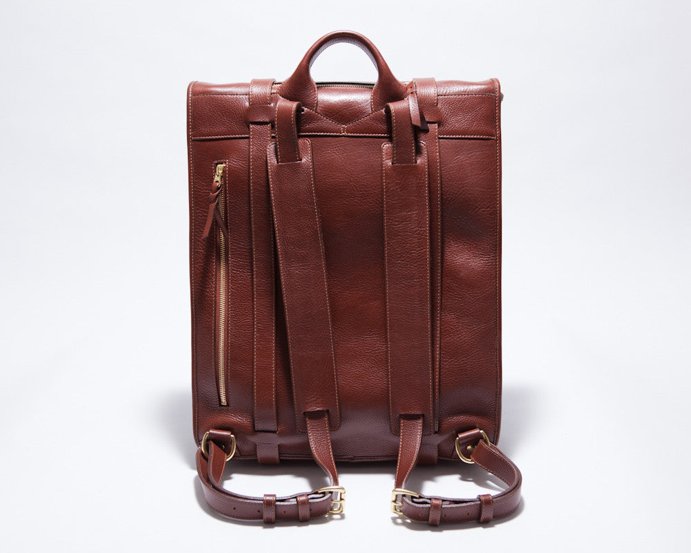Back Leather Strap View of Leather Backpack Chestnut