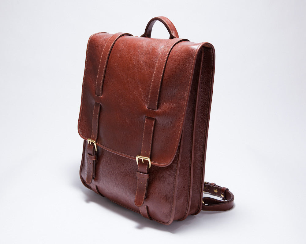 Full Leather Backpack View of Leather Backpack Chestnut