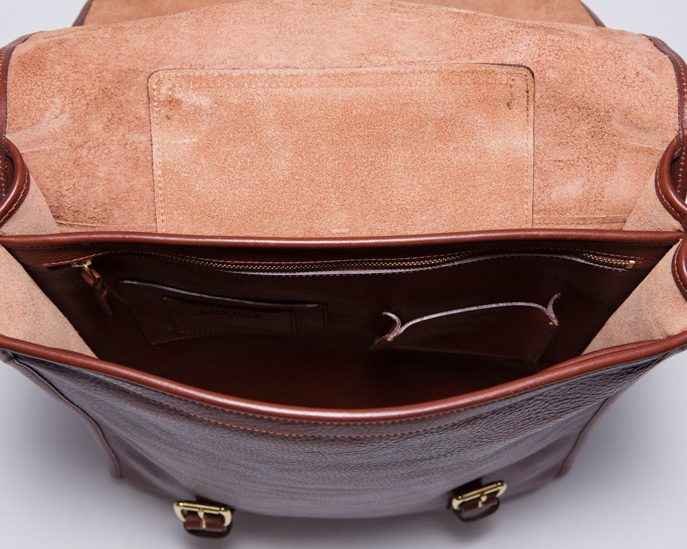 Inner Leather Space View of Leather Backpack Chestnut