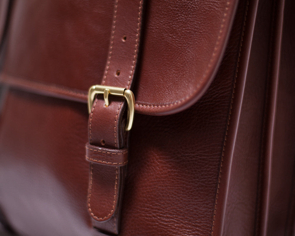 Leather Buckle View of Leather Backpack Chestnut