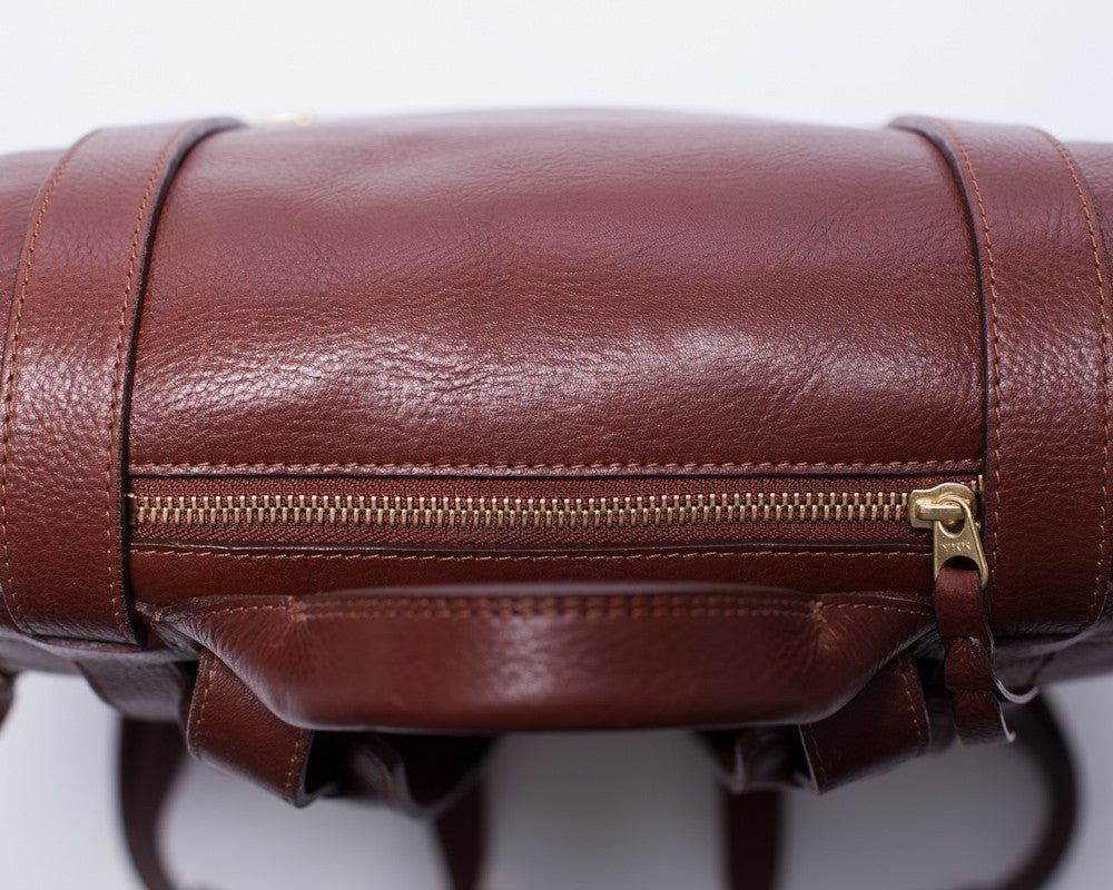 Top View of Leather Backpack Chestnut