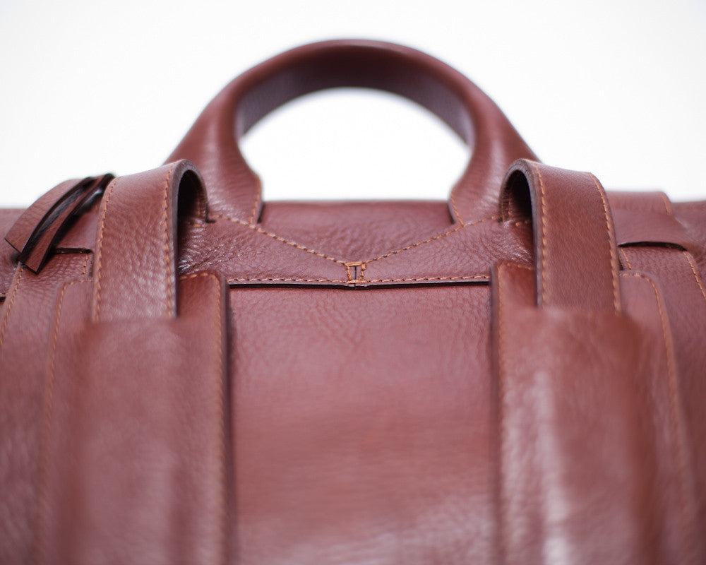 Top Leather Handle of Leather Backpack Chestnut
