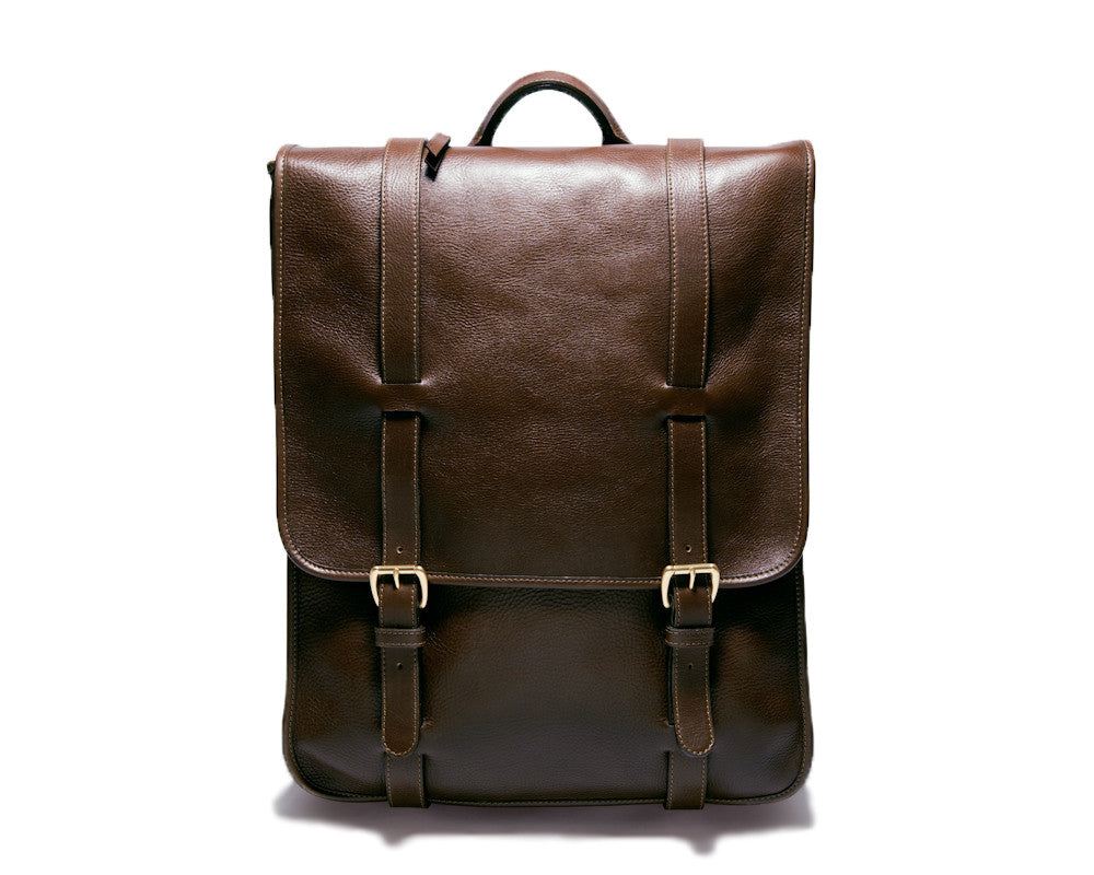 Front View of Leather Backpack Chocolate