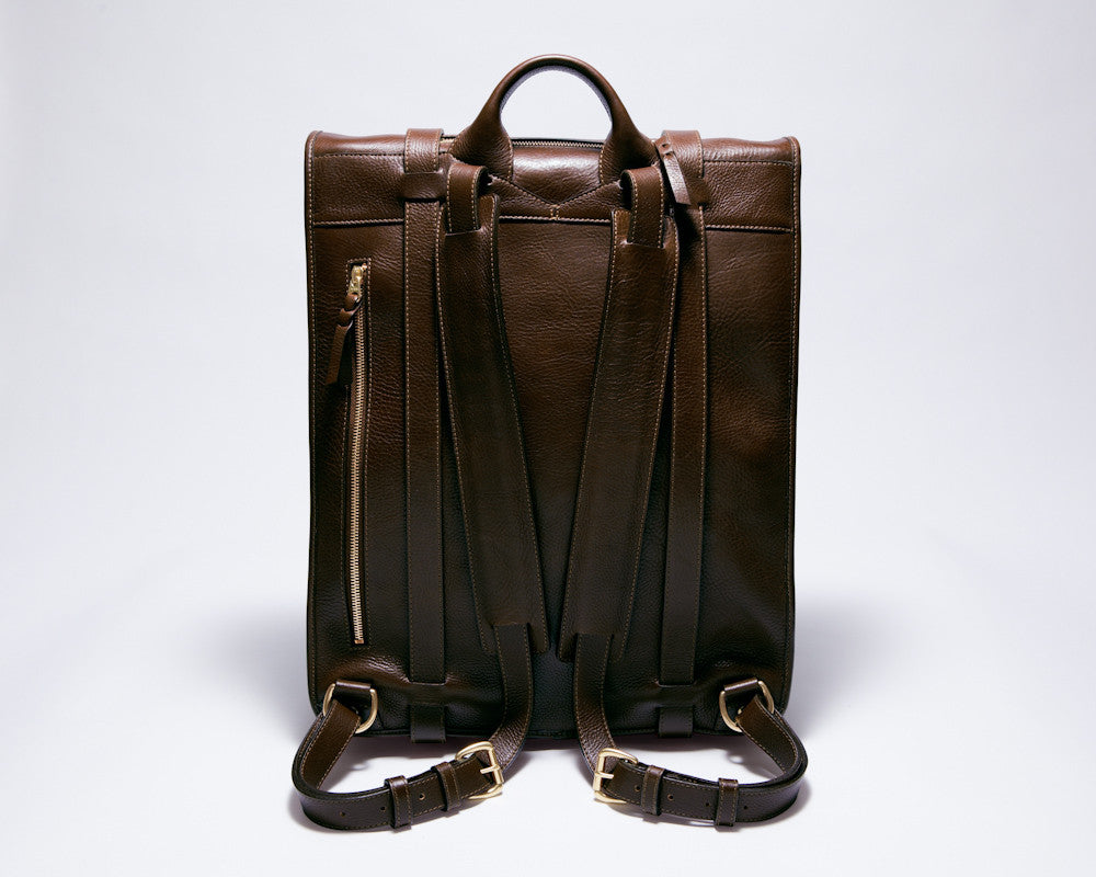 Back Leather Straps View of Leather Backpack Chocolate