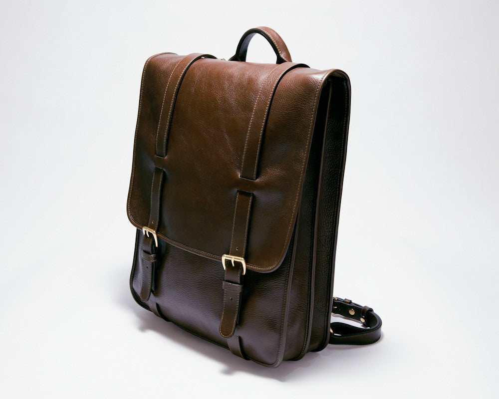 Front Side View of Leather Backpack Chocolate