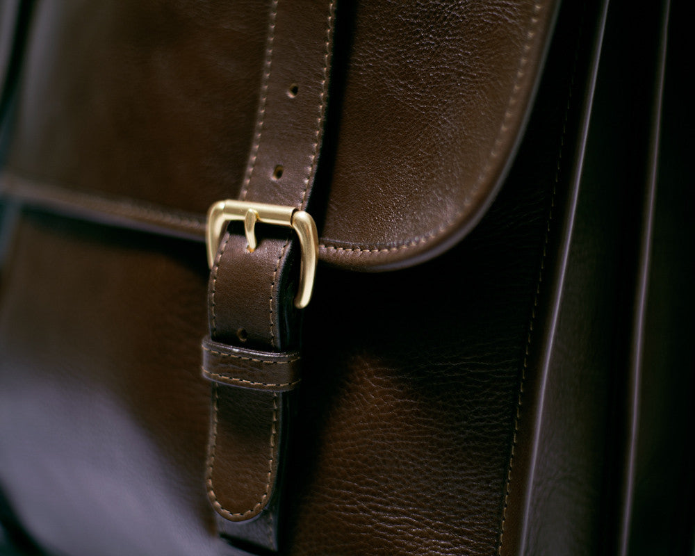 Front Buckle View of Leather Backpack Chocolate