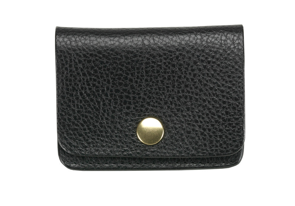 Front View of Leather Coin Wallet Black