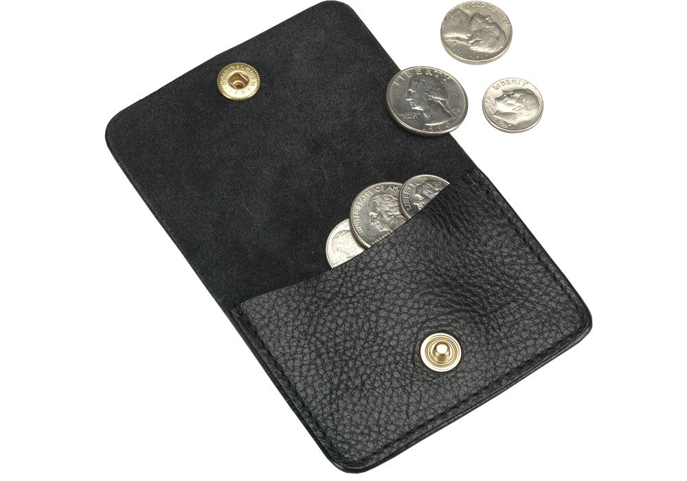 Open View of Leather Coin Wallet Black