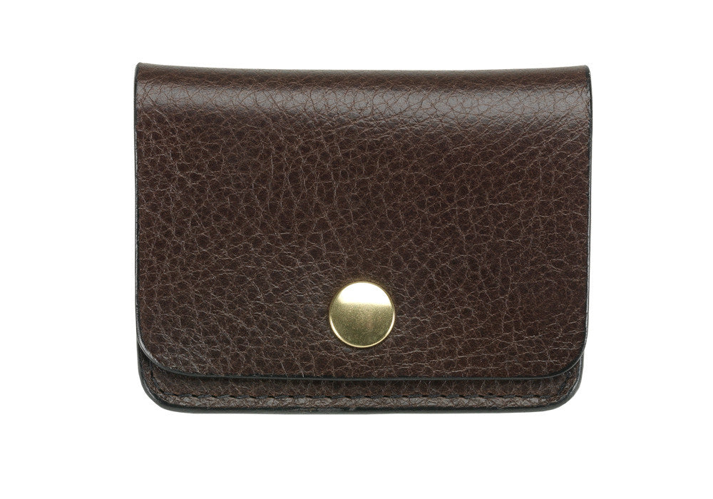 Front View of Leather Coin Wallet Chocolate
