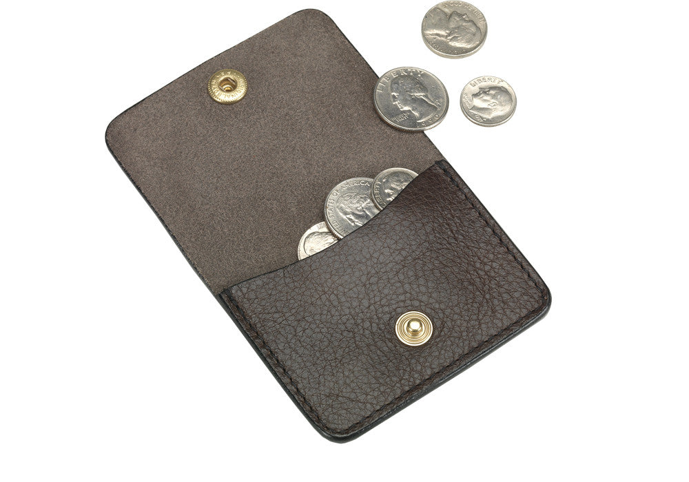 Open View of Leather Coin Wallet Chocolate