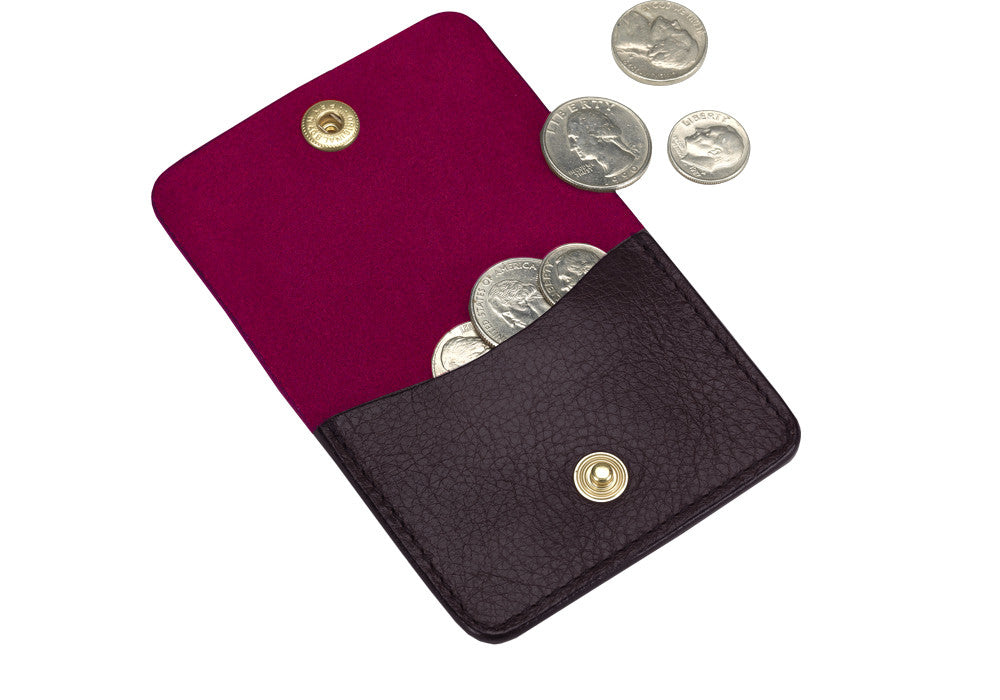 Open View of Leather Coin Wallet Cordovan