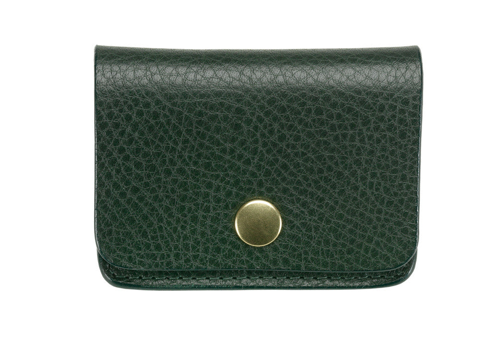 Front View of Leather Coin Wallet Green