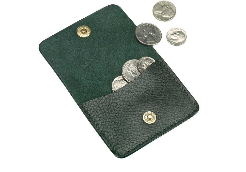 Open Full View of Leather Coin Wallet Green