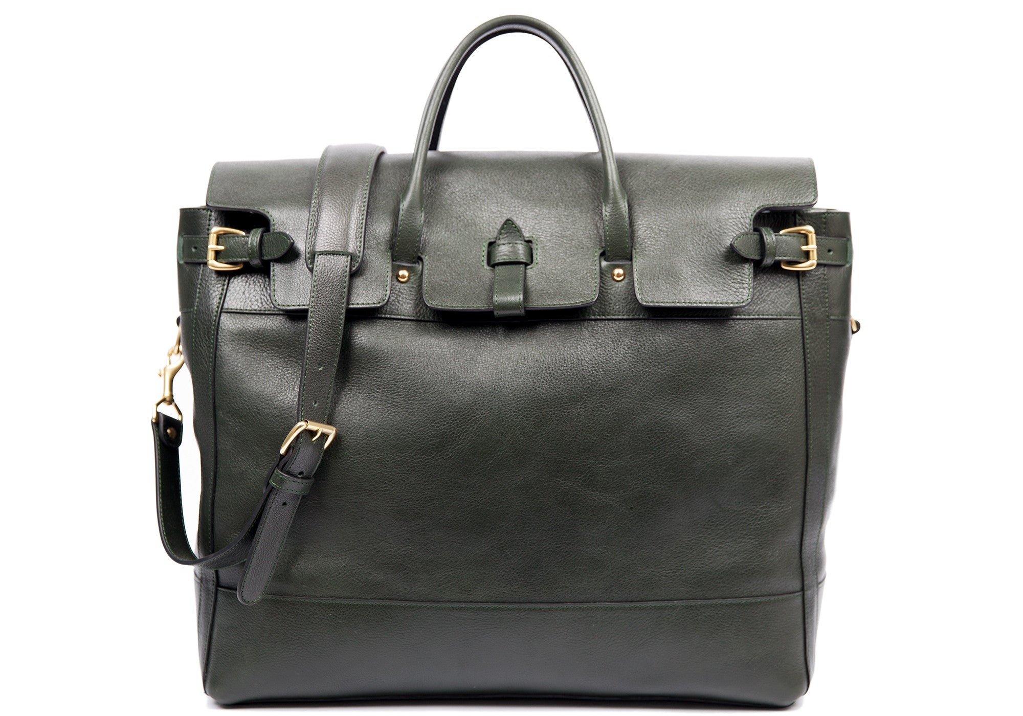 Front Leather View of Leather Day Tote Green