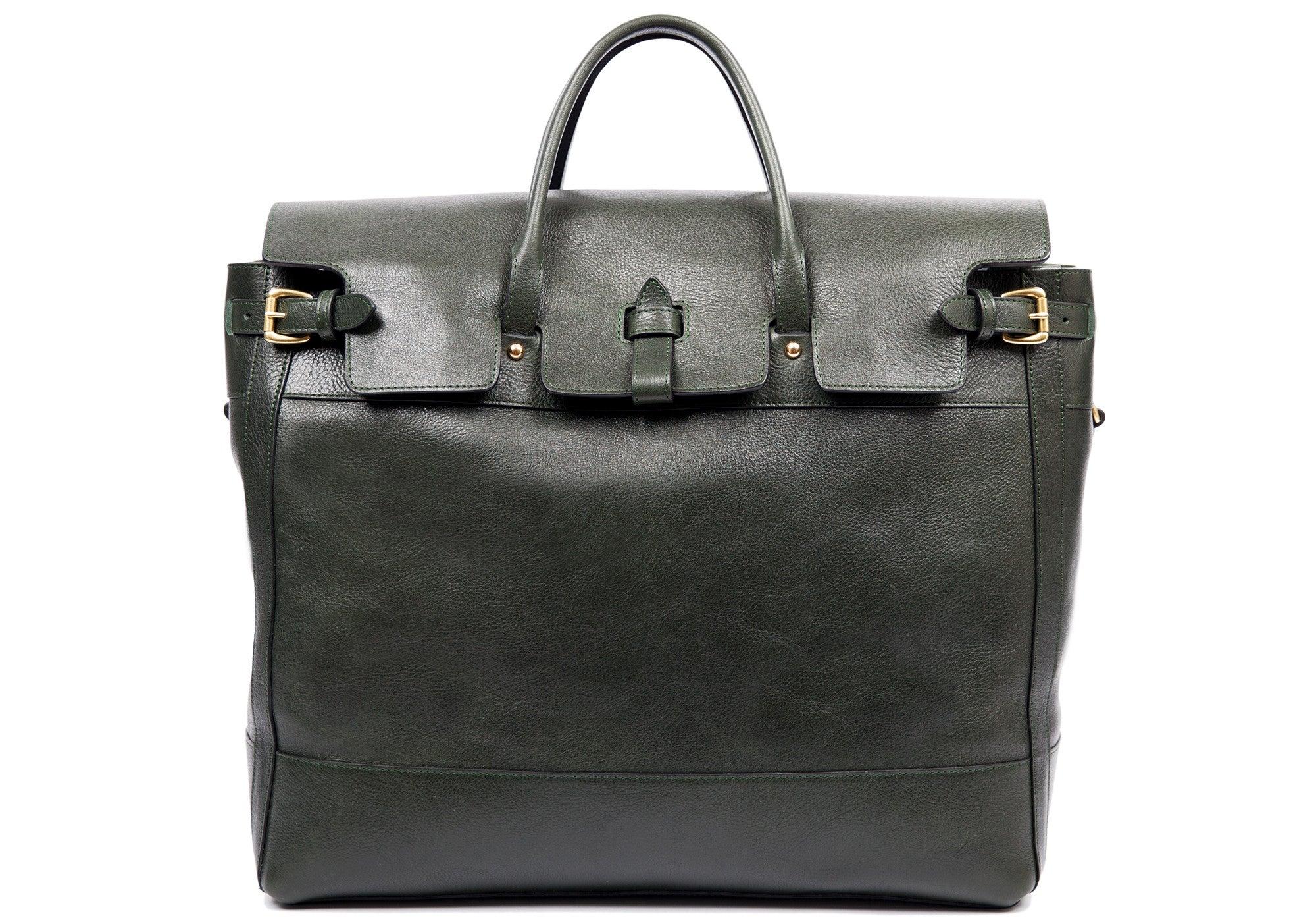 Front View of Leather Day Tote Green