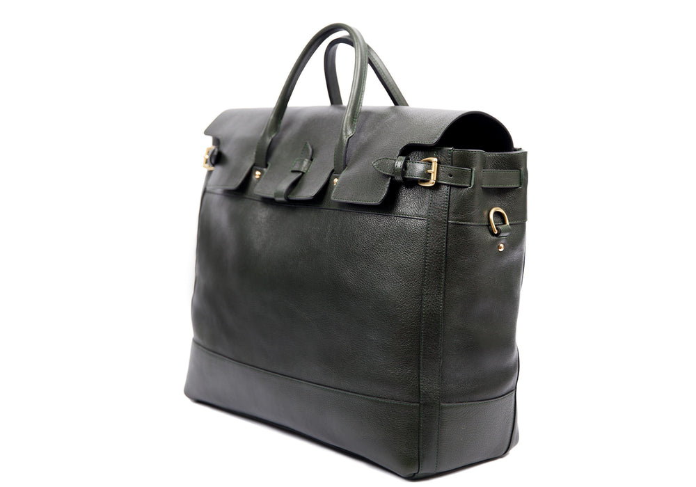 Side View of Leather Day Tote Green