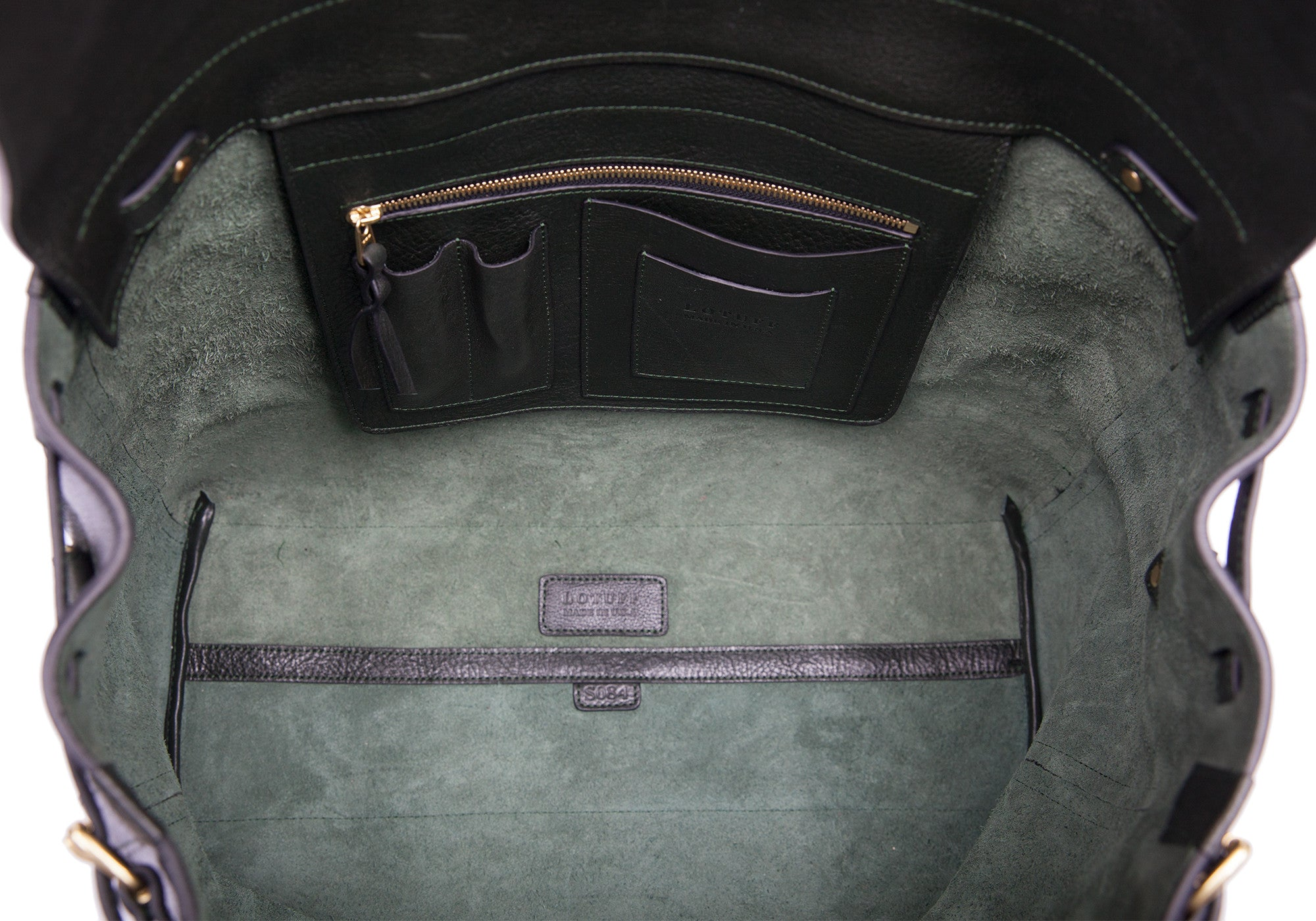 Inner Leather View of Leather Day Tote Green